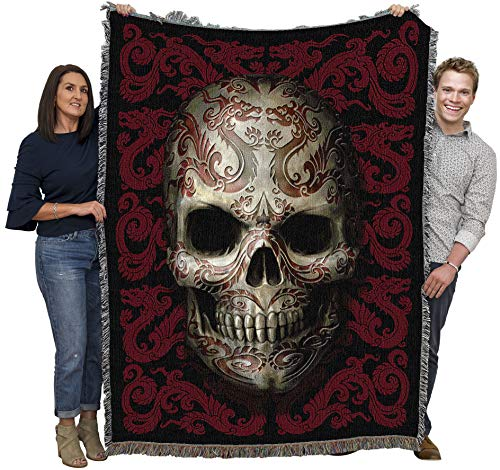 Pure Country Weavers Fantasy - Oriental Skull by Anne Stokes - Gothic Collection - Blanket Throw Woven from Cotton - Made in The USA (72x54)