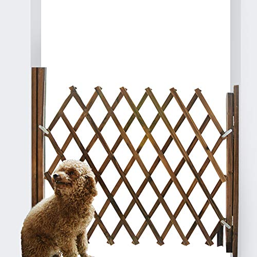 LaCyan Pet Gate Expanding Wooden Fence Pet Guardrail Safety Protection Divider Gate (L, Brown)