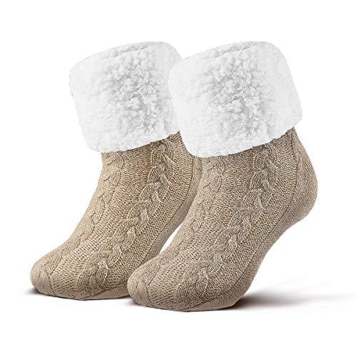 Piarini 1 Paar Kuschelsocken mit ABS Sohle - warme Damen Socken - Wintersocken mit Anti Rutsch Noppen - dicke Haussocken beige creme