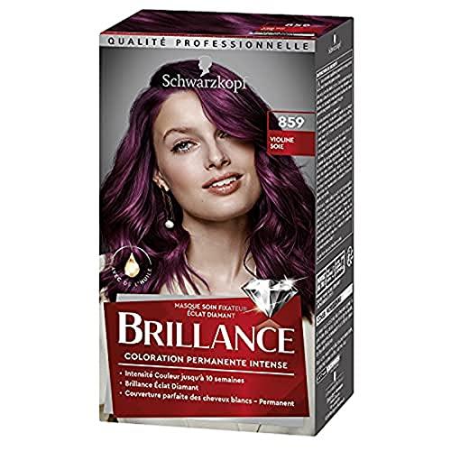 Schwarzkopf - Brillance - Coloration Cheveux Permanente Intense - Avec de lHuile - Couvre 100% des Cheveux Blancs - Violine Soie 859