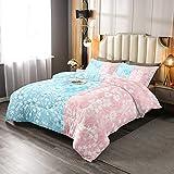 Juego de ropa de cama de empalme rosa azul tamaño doble, encantador juego de edredón de flores para niños y niñas, estilo rústico y sencillo cepillado microfibra suave decoración de cama