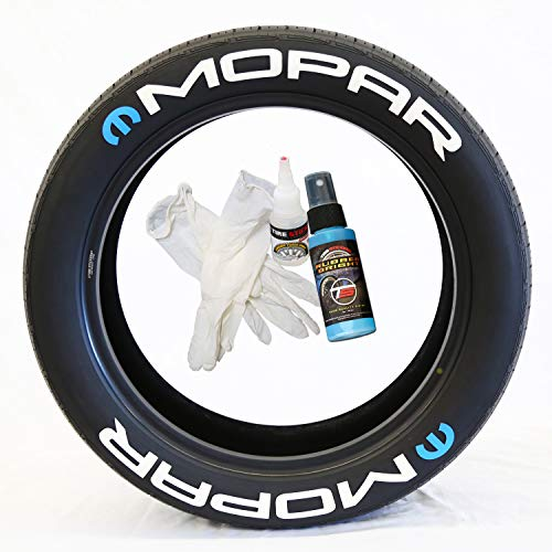 Tire Stickers Mopar with M Logo - Permanent DIY Glue On Tire Letters USA Made with Glue & 2oz Touch-Up Cleaner / 19-21 Inch Wheels / 1.25 Inches/White / 8 Pack
