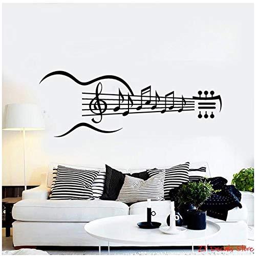 KBIASD Música vinilo pared calcomanía guitarra instrumento musical notas musicales pegatinas de pared extraíble arte mural papel tapiz para dormitorio 42x114cm