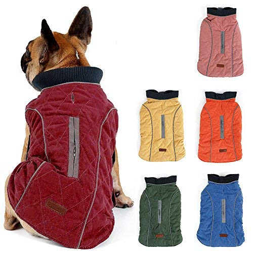 TFENG Reflektierend Hundejacke für Hunde, Hundemantel Warm gepolstert Puffer Weste Welpen Regenmantel mit Fleece (Rot, Größe M)