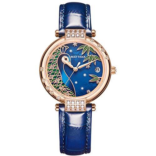 REEF TIGER Damen Uhr analog Automatik mit Leder Armband RGA1587 (RGA1587-PLLC)