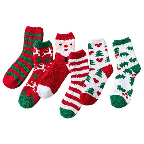 Christmas Fuzzy Socks Women Girls Warm Animal Cute Funny Soft Fluffy Sock Winter Gifts christmas 6 pairs