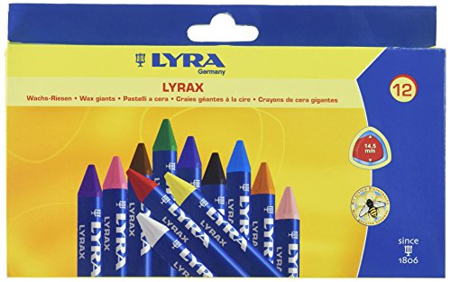 LYRA LYRAX Wax-Giants Large Triangular Beeswax Crayons, Set of 12 Crayons, Assorted Colors (5701120)