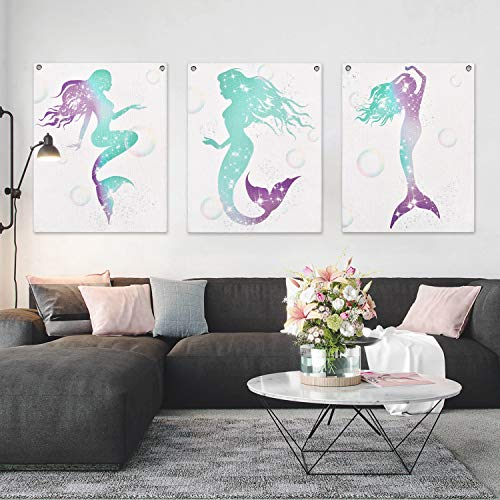 Pack of 3 Tapestry Mermaid Tapestry Modern Wall Art Print Painting Watercolor Wall Hanging Tapestries with Seamless Nails for Room(11.8 x 15.7 inches)