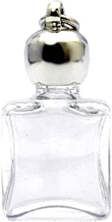 ミニ香水瓶 アロマペンダントトップ 平角スキ(透明)1ml?シルバー?穴あきキャップ、パッキン付属