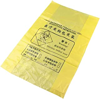 Adamas-Beta 100Pcs Biohazard Waste Bags, Medical Waste Trash Bags, Yellow Infectious Waste Garbage Bags,Size 58×70cm, 0.025mm Thick
