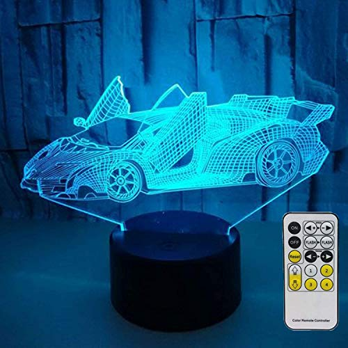 Novelty Race Car 3D Night Light 7 Colors Changing Nightlight with Smart Touch & Remote Control Optical Illusion Lamps for Kids or as Gifts for Women Kids Girls Boys