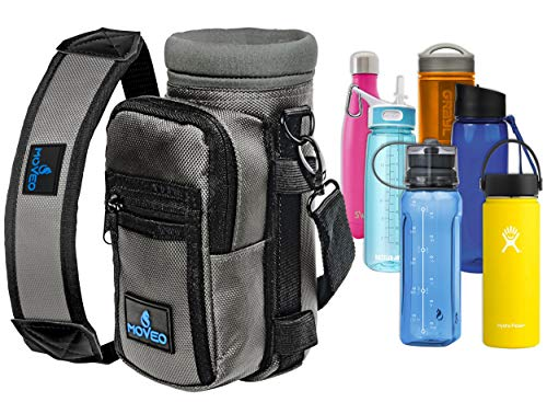 Water Bottle Holder Carrier - Bottle Cooler w/Adjustable Shoulder Strap and Front Pockets - Suitable for 16 oz to 25oz Bottles - Carry Protect & Insulate Your Thermos or Hydro Flask (Gray)