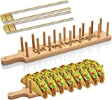 🎋HIGH QUALITY BAMBOO 🎋Our Taco Holder and Kitchen Tongs are made from natural bamboo and have a solid build designed to last for a long time. Safe for use in your happy home. 🎋MULTI-PURPOSE & RUSTIC DESIGN 🎋Enjoy serving up to 8 different style tacos...