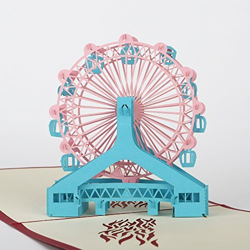 Bondpaw Creative All Occasion Greeting Cards, Handmade Ferris Wheel Pop Up 3D Card for Wedding Anniversary Valentine Graduation Thanks, All Occasion with Envelope