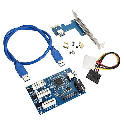 Huaji PCI-e Express 1X a 3 Puertos 1X Interruptor Multiplicador HUB Riser Card +Cable USB