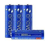 エネボルト(enevolt) 大容量 単3形充電池 3000mAh ニッケル水素充電池 自然放電軽減 充電 電池 4本セット