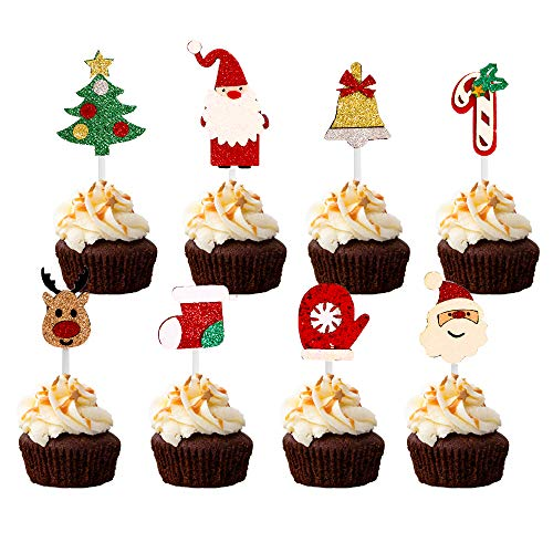 24 Pcs Christmas Cupcake Toppers,Christmas Glitter Cupcake Toppers, Christmas Cake Decoration, Christmas Party Supplies, Family Party Decoration