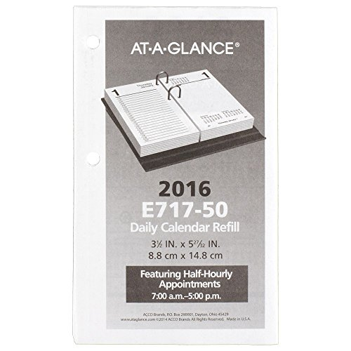 AT-A-GLANCE Daily Desk Calendar 2016 Refill, 12 Months, January – December, 3.5 x 6 Inch Page Size (E71750)