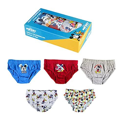 ARTESANÍA CERDÁ Bragas de algodón para niños con diseño de Mickey Mouse, juego de 5 y 6 piezas, de 2 a 6 años Box Blue 2-3 años