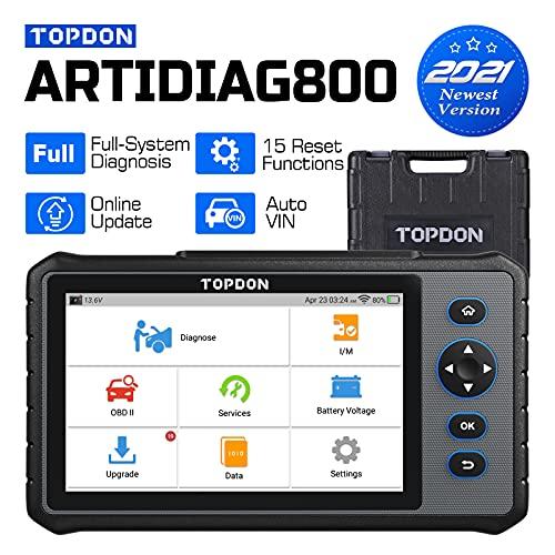 TOPDON obd2 Diagnosegerät ArtiDiag800, OBD2-Scanner mit AutoVIN, 15 Wartungsservice, Öl-Reset, ABS-Entlüftung, Injektor-Codierung, Drosselklappenanpassung, alle Systemdiagnose für 72+ Marken