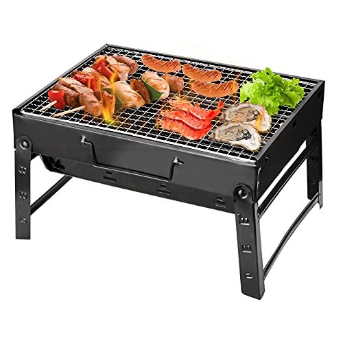 KKmoon - Barbacoa gruesa, portátil, barbacoa, horno plegable, para casa, parrilla exterior de acero negro, hornos, regalo al aire libre para barbacoa compacta,