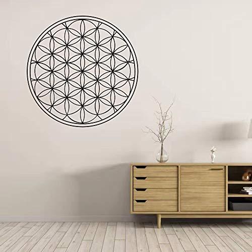 Geometría sagrada Flor de la vida Boho Seed Mandala Línea geométrica Cirle Vinilo Etiqueta de la pared Calcomanía Dormitorio Sala de estar Estudio de yoga Oficina Decoración para el hogar Mu