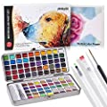 Lyoung Watercolor Paint Set, 90 Vivid Colors in a Lightweight Metal Case - 1 Detail Paint Brush-3 Water Brush Pens-8 pcs 300G Watercolor Papers in a Great Gift Box Water Color Painting