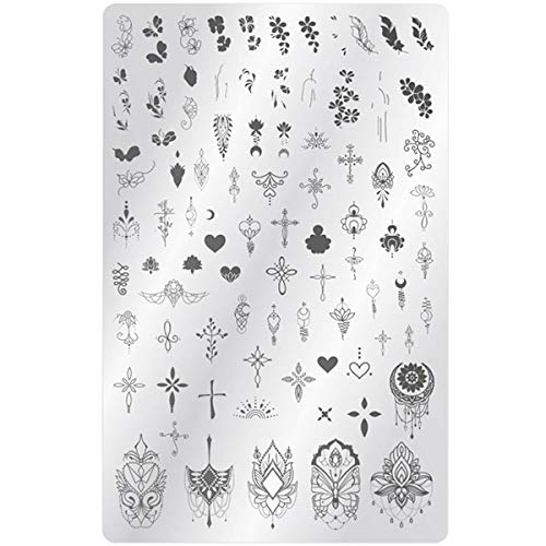 XXL Mandala Stamping Schablone Nr. 8 - Blumen, Kreuze und Schnörkel Motive für Nagelmodellage und Fingernägel