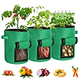 Pack de 3 bolsas de cultivo de 7 galones para patatas, bolsas de plantas de tela no...