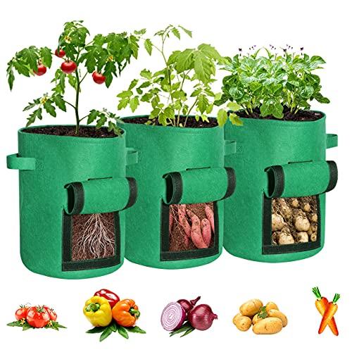3er Pack Pflanzsack,7 Gallons, Kartoffel Pflanzbeutel Pflanzen Tasche aus atmungsaktivem Vliesstoff Pflanzbeutel zum Pflanzen von Tomaten, Zucchini Pflanzen Gemüsepflanzenmit Griff und Fenster (Grün)