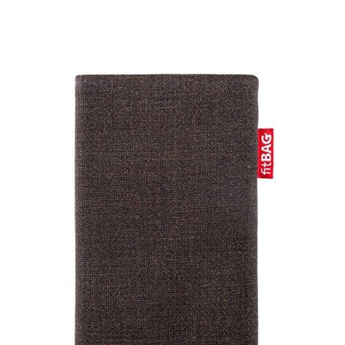 fitBAG Jive Braun Handytasche Tasche aus Textil-Stoff mit Microfaserinnenfutter für Huawei Ascend Mate 2   Hülle mit Reinigungsfunktion   Made in Germany - 4
