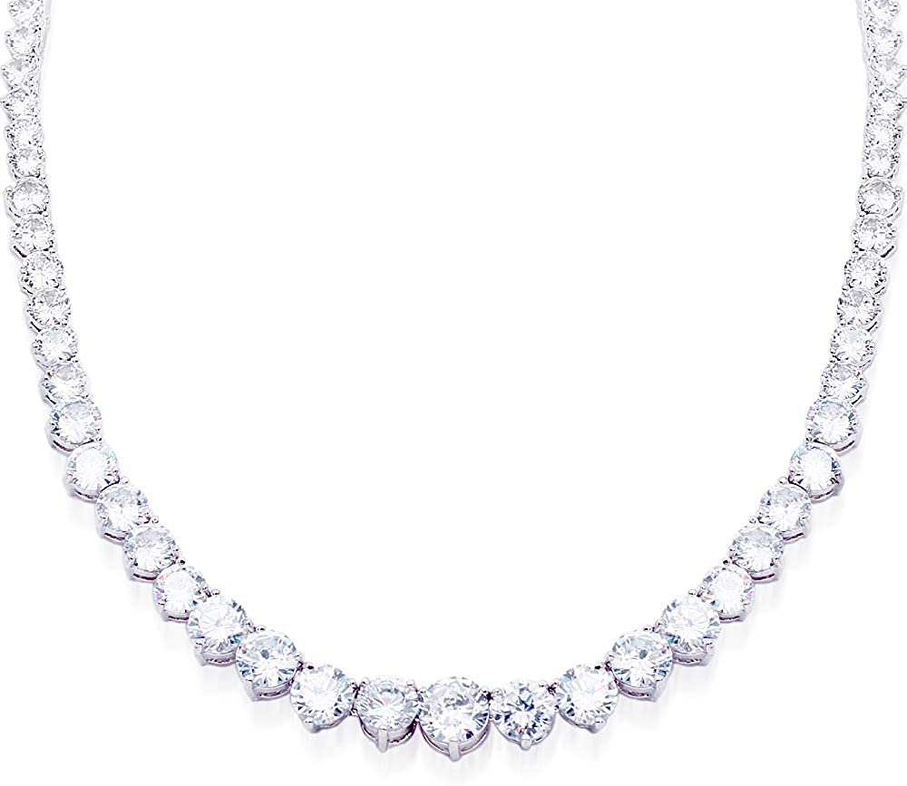 """Lavencious Tennis AAA CZ Necklace Bridal Evening Party Bling Gold Plated Statement Jewelry 16"""" and 18"""