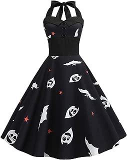 KLFGJ New Ladies Dress Halloween Vintage Sleeveless Bat Costumes Printed Evening Party Dresses