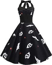Women's Vintage Print Dresses,YuhooSun Halter Halloween Buttons Zipper Empire Waist Bodycon Evening Party Swing Dress