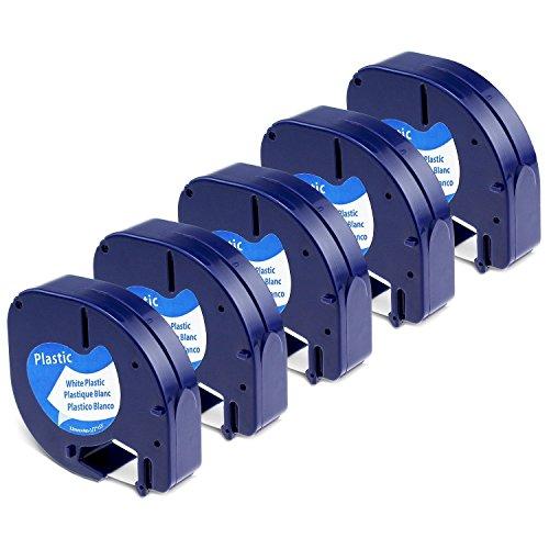 Aken - Cinta de Etiquetas compatible para usar en lugar de Dymo Letratag Cinta Etiquetas Plástico 12mm x 4m Negro sobre Blanco, Recambios S0721610 para Dymo Etiquetadoras LT-100h LT-100T LT-110T XR XM