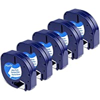 Aken - Cinta de Etiquetas compatible para usar en lugar de Dymo Letratag Cinta Etiquetas plastic 12mm x 4m negro sobre blanco, Recambios S0721610 para Etiquetadoras LT-100h LT-100T LT-110T XR