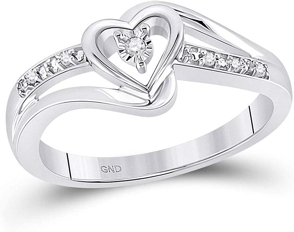 10kt White Gold Free shipping Womens Round Max 42% OFF Diamond Heart Ring Cttw Promise .03