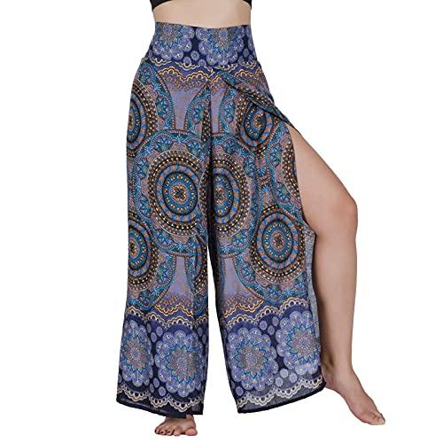 Lofbaz Slit Leg Palazzo Pantalones de Yoga para Mujeres niñas Maternidad Verano Playa Pijama de Cintura Alta Boho Harem Blooming Flor Azul Oscuro L