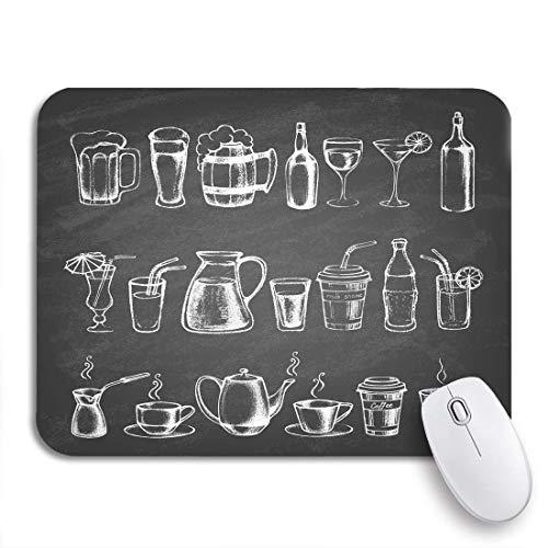N\A Juego Alfombrilla de ratón Tiza de Diferentes Bebidas Pizarra Bebida Cerveza Pizarra Dibujar Funda de Goma Antideslizante Alfombrilla de ratón para portátiles Ordenadores Alfombrillas de ratón