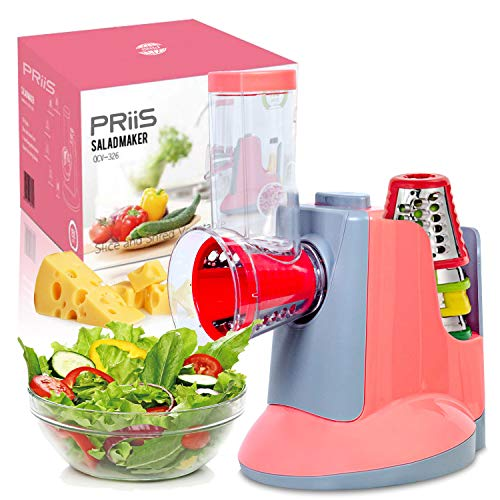 PRiiS Salad Shooter Professional Maker Machine Electric Cheese Shredder Nuts Grater Potato Cutter Slicer Chopper w/ 5 Free Shooter Replacements Parts for Health Vegetarian 2 color rosy