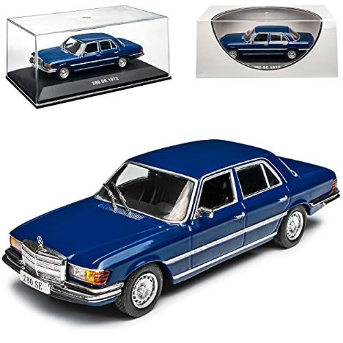 Ixo Mercedes-Benz S-Klasse W116 280 SE Limousine Dunkel Blau 1972-1980 1/43 Modell Auto
