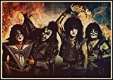 yitiantulong Heavy Metal Kiss Rock Band Carteles Equipo De Música Estrella Clásica Pintura Decorativa Cartel Pared Pegatina Arte De Pared 50X70Cm Sin Marco(A3898)