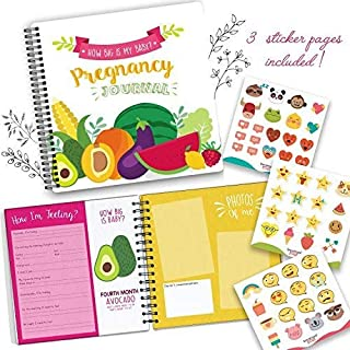My 9 Months Journey - Belly Book, Pregnancy Journal and Baby Memory Book with Stickers - Baby's Scrapbook and Photo Album -Perfect Gift for First Time Moms -Picture and Milestone Books for Toddlers
