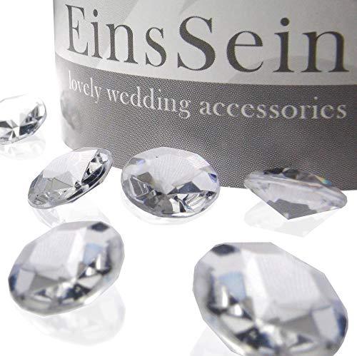 EinsSein 1000x Diamantkristalle 12mm klar Dekoration Streudeko Konfetti Tischdeko Hochzeit Diamanten Diamant Glas groß Geburtstag