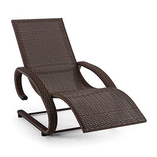 blumfeldt Daybreak Gartenliege - Sonnenliege, Relaxliege, Schwingliege, Rattan-Optik, ergonomische Form, witterungsbeständig, wasserresistent, schmutzabweisend, Aluminium, 100kg max, braun