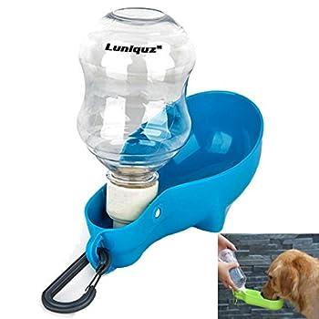 Luniquz 250ml Bouteille d'eau pour Chien Distributeur d'eau Portable avec Clip en Plastique Gourde avec Abreuvoir pour Chien Chiot Chat(Bleu)