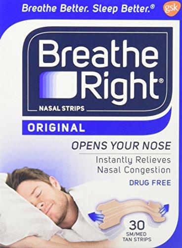 Breathe Right Breathe Right Nasal Strips Original Tan Large, Small/Medium...