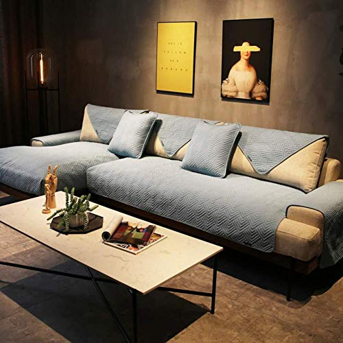 J-Kissen Reversible Sofa Cover, Gesteppte Couch Abdeckung rechteckige Möbel-Schutz-Husse for Haustiere Anti-Rutsch-Sofa Kissenüberzüge (Color : Blue, Size : 110x180cm(43x71inch))