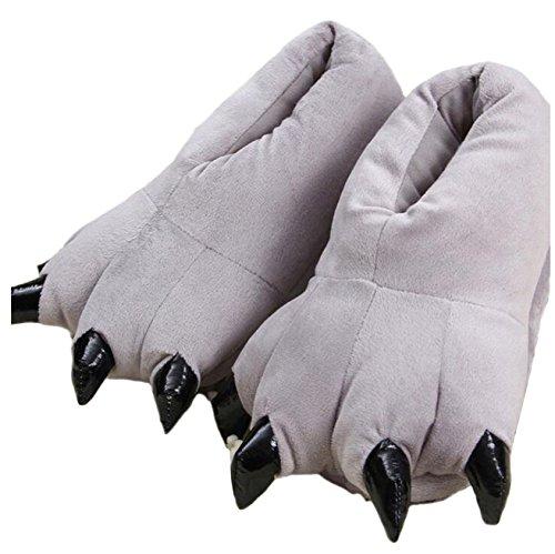 Zapatillas de casa de Felpa Suave Unisex Animal Disfraz de Pata de Garra (M (35-39 / EUR), Grey)