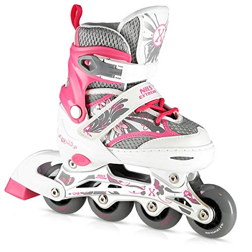 Nils Extreme Kinder Mädchen Inliner Inlineskates Größenverstellbar | 82A Rollen | ABEC7 Chrome Kugellager | Fitness Skates für Kinder | Rosa (L (39-42))